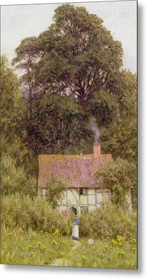 Cottage Near Brook  Metal Print by Helen Allingham