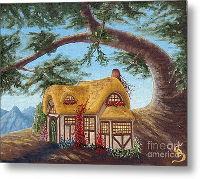 Cottage Under A Branch From Arboregal Metal Print