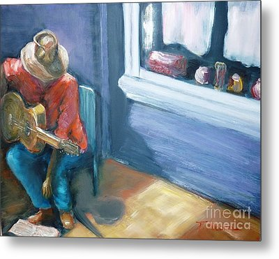 Metal Print featuring the painting Busker At Cottesloe - Original Sold by Therese Alcorn