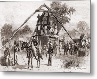 Cotton Press In Operation In The South Metal Print by Everett
