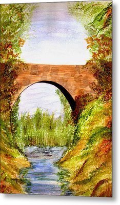 Country Bridge Metal Print by Paula Ayers