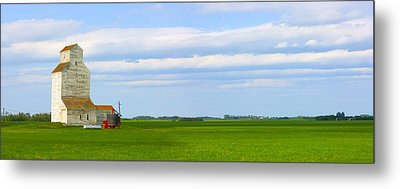 Country Grain Elevator Panoramic Metal Print by Corey Hochachka