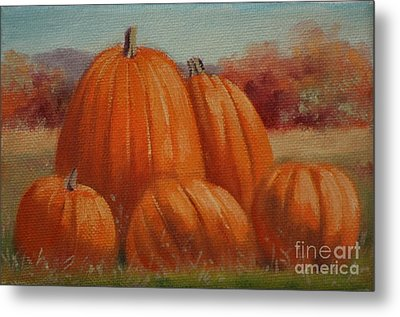 Country Pumpkins Metal Print by Linda Eades Blackburn