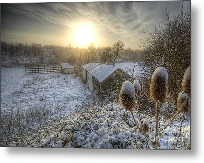 Country Snow And Sunrise Metal Print by Yhun Suarez