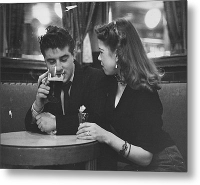 Couple In Pub Metal Print by Picture Post