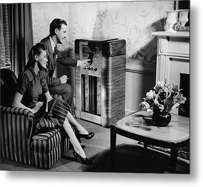 Couple Listening To Radio In Living Room, (b&w) Metal Print by George Marks