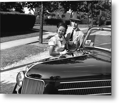 Couple Posing At Open Top Car, (b&w), Portrait Metal Print by George Marks