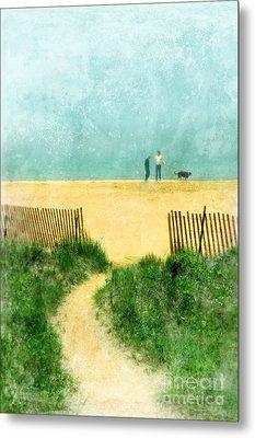 Couple Walking Dog On Beach Metal Print by Jill Battaglia