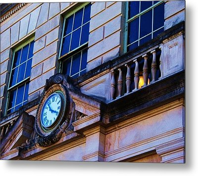 Courthouse Clock Metal Print by Beverly Hammond