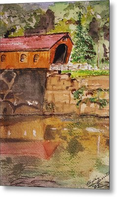 Covered Bridge And Reflection Metal Print by Phyllis Barrett