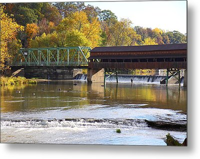 Covered Bridge Fishing Metal Print by Kevin Schrader