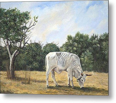 Metal Print featuring the painting Cow by AnnaJo Vahle