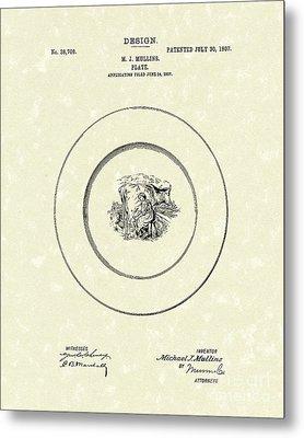 Cow Milking Plate Design 1907 Patent Art Metal Print by Prior Art Design