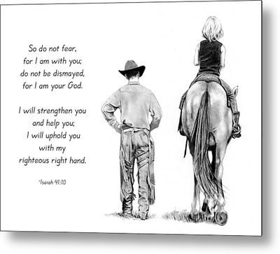 Cowboy And Rider With Bible Verse Metal Print by Joyce Geleynse