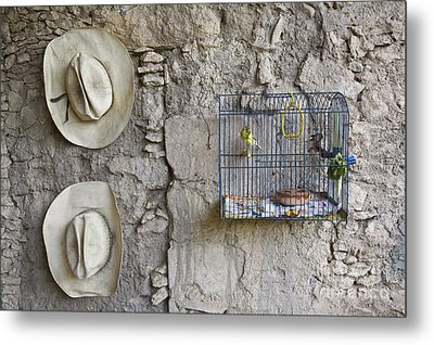 Metal Print featuring the photograph Cowboy Hats And Parakeets by Craig Lovell