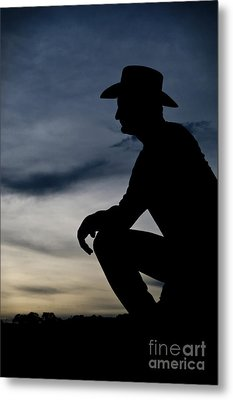 Cowboy Silhouette At Sunset Metal Print by Andre Babiak