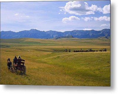 Cowboys And Wagon On A Cattle Drive Metal Print by Carson Ganci