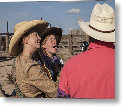 Cowgirl Serenading The Cowboys Metal Print by Ralph Brannan