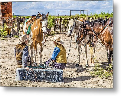 Cowgirls At Rest Metal Print by Ralph Brannan
