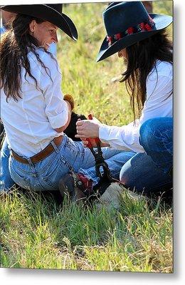 Cowgirls At Work Metal Print by Elizabeth Hart