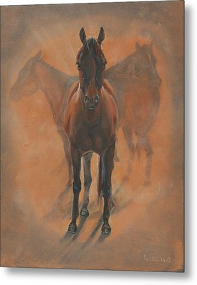 Cowponies In The Dust Metal Print by Elizabeth Lane