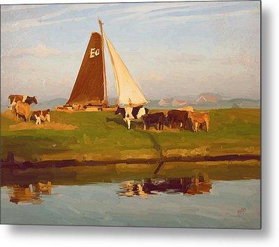 Cows And Sails Metal Print by Nop Briex