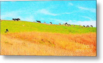 Cows On A Hill . 40d3430 . Painterly . Long Cut Metal Print by Wingsdomain Art and Photography