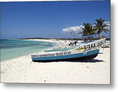 Metal Print featuring the photograph Cozumel Mexico Fishing Boats On White Sand Beach by Shawn O'Brien