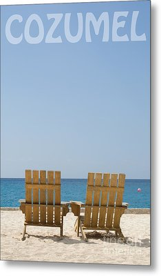Metal Print featuring the photograph Cozumel Mexico Poster Design Beach Chairs And Blue Skies by Shawn O'Brien