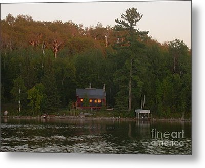 Cozy Cabin Sunset Soaked Metal Print