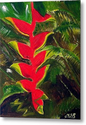 Crab Claw Heliconia Metal Print by Maria Soto Robbins