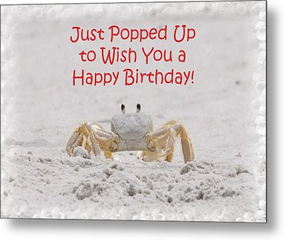 Crab Happy Birthday Metal Print