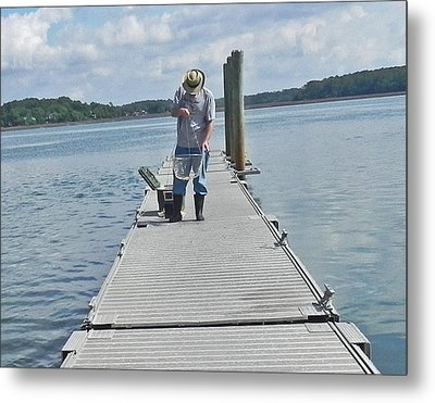 Crabber Man Metal Print by Patricia Greer