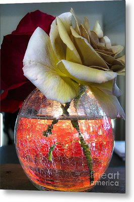 Metal Print featuring the photograph Crackle Glass by Leslie Hunziker