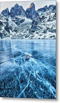 Cracks In The Ice Metal Print by Evgeni Dinev