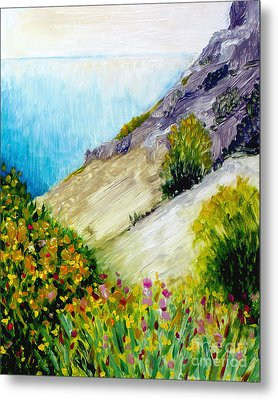 Crags And Wildflowers Of Monaco Metal Print by Hilary England