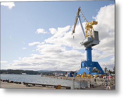 Crane At Shipyard Metal Print by Shannon Fagan