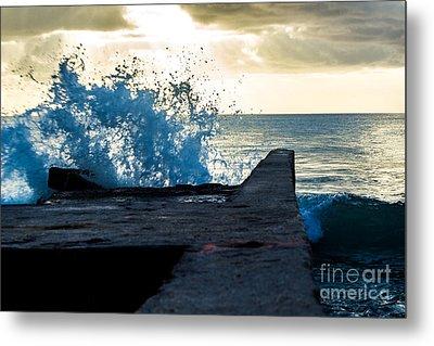 Crashing Blue Metal Print by Rene Triay Photography
