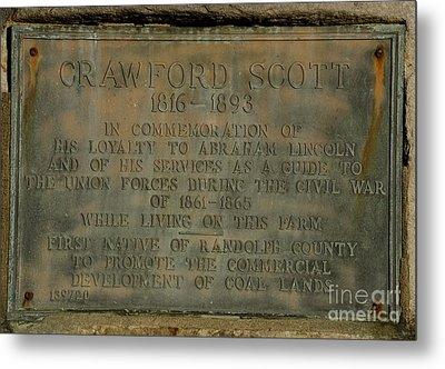 Crawford Scott Historical Marker Metal Print by Randy Bodkins