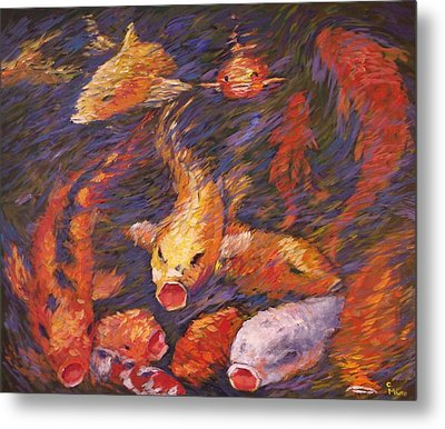 Metal Print featuring the painting Crazed Clear Creek Koi by Charles Munn