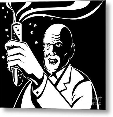 Crazy Mad Scientist Test Tube Metal Print by Aloysius Patrimonio