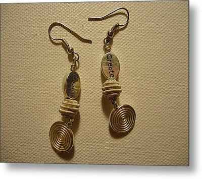Create In Silver Earrings Metal Print