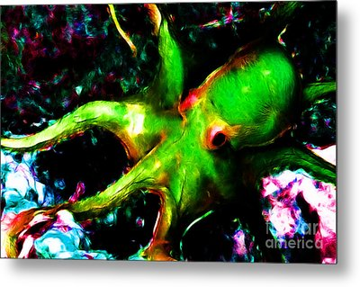 Creatures Of The Deep - The Octopus - V3 - Electric - Green Metal Print by Wingsdomain Art and Photography