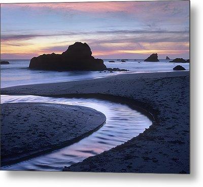 Creek Flowing Into Ocean At Harris Metal Print by Tim Fitzharris