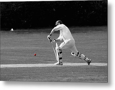 Cricketer In Black And White With Red Ball Metal Print