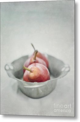 Crimson And Silver Metal Print by Priska Wettstein