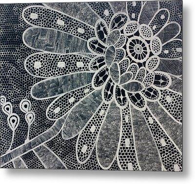 Crochet Flower Metal Print by Salwa  Najm
