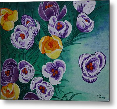 Metal Print featuring the painting Crocus by Paul Amaranto