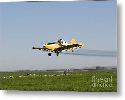 Crop Duster Flying Over Farm  Metal Print by Cindy Singleton