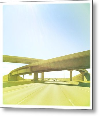 Cross Bridge Over Road Metal Print by A L Christensen